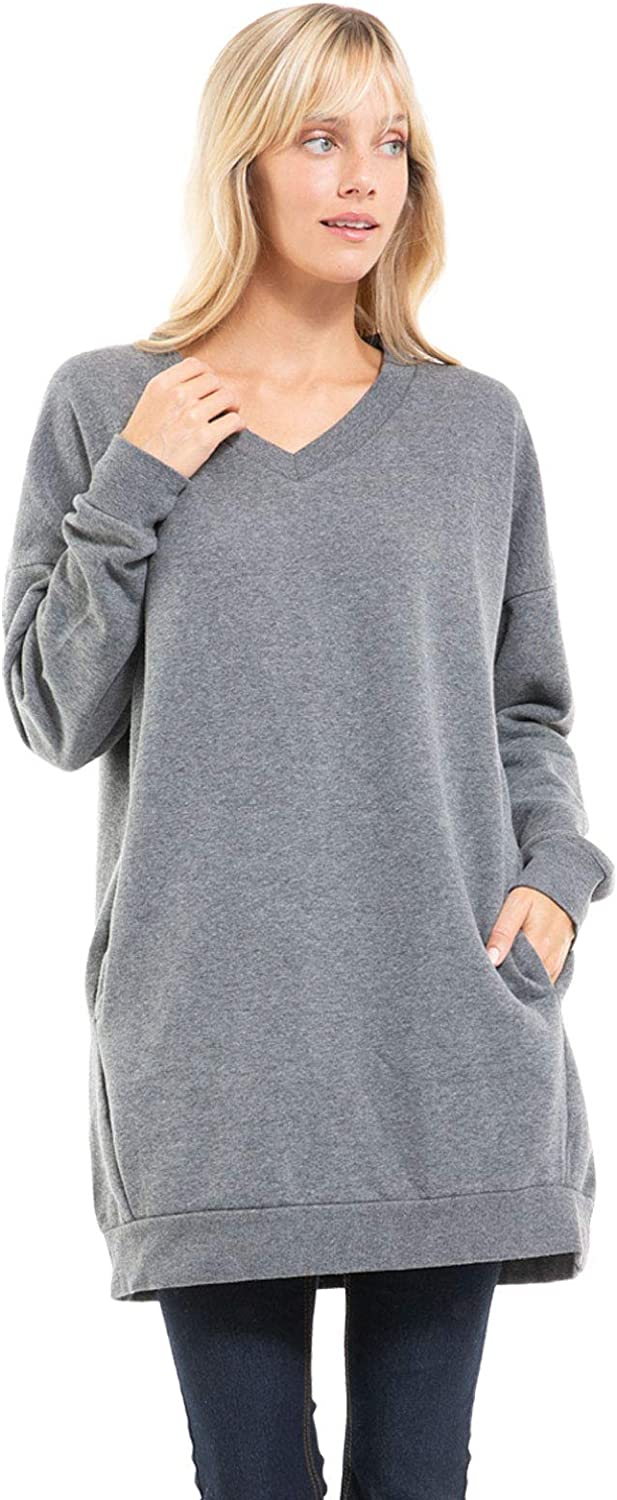 Design by Olivia Women's Casual Oversized Loose Fit V-Neck Long Sleeves Fleece Pullover Sweatshirts Tunic S~3X