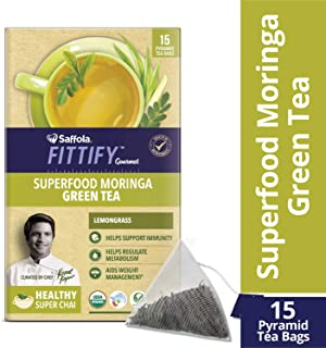 Saffola FITTIFY Gourmet Superfood Moringa Green Tea, Lemongrass, 15 Sachets, 37.5g