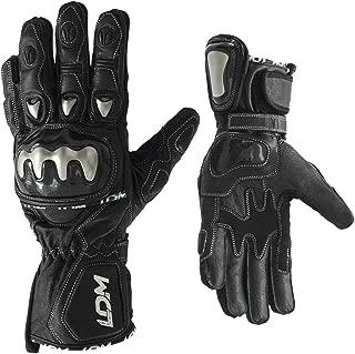 LDM Street-R Guanti da motocicletta in pelle nera rinforzati da corsa