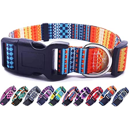Adjustable Dog Collar pet Collar webbing ribbon gemoetric hippie floral pattern colorfull HAPPY HIPPIE different sizes by Easy and Cooper