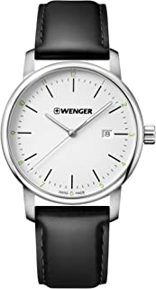 Wenger Men's Urban Classic Stainless Steel Quartz Watch with Leather Calfskin Strap, Black, 22 (Model: 01.1741.109)