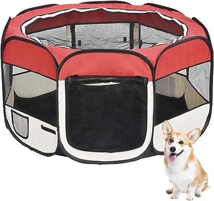 lzndeal Pet Gato Perro Valla Tienda corralito 8 Paneles Plegable port/átil casa Puertas Dobles