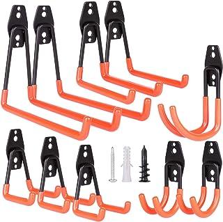 Mieuxbuck Garage Storage Hooks, 10-Pack Steel Utility Double Hooks, Heavy Duty Hooks for Bikes, Ladders, Power Tools, Bulk...