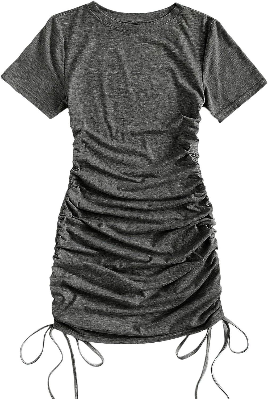 Milumia Women's Drawstring Side Ruched Short Sleeve Straight Mini Basic T Shirt Dress