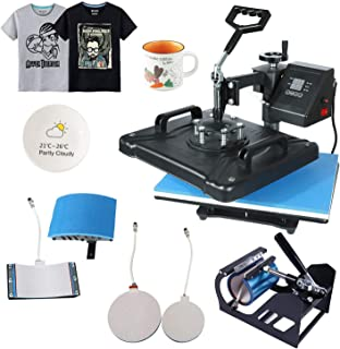 ABDQPC Heat Press Machine 12 X 15 inch 5 in 1 Digital Combo Swing-Away Presser Mug Hat Press Multi-Functional Sublimation T Shirt Heat Press Machine