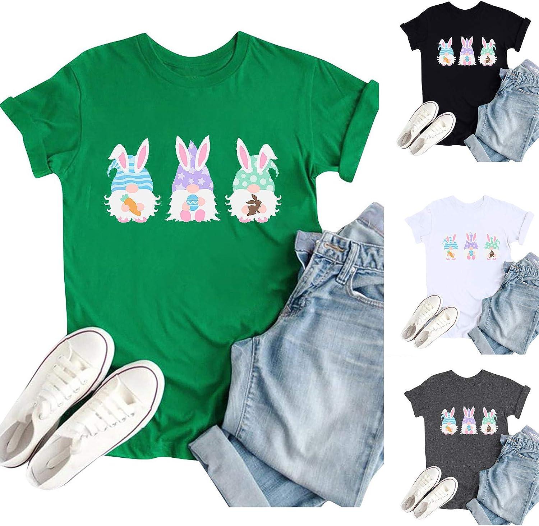 Womens Short Sleeve Tops,Womens T Shirts Print Easter Tees Casual Short Sleeve Tops Tunics T-Shirt