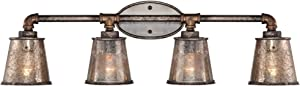 """Fillmore Rustic Farmhouse Wall Light Industrial Rust Piping Hardwired 31 3/4"""" Wide 4-Light Fixture Tea Tone Seedy Glass for Bathroom Vanity - Franklin Iron Works"""