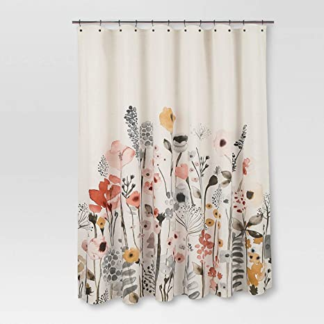 Amazon Com Threshold Floral Wave Shower Curtain 100 Cotton 72x 72 Original Version Everything Else