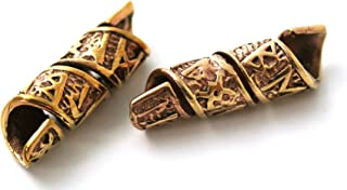 LynnAround Bronze Norse Viking Celtic Beard Beads Rings, Medieval Dwarf Dreadlock Pirate Hair Beads, Pagan Jewelry