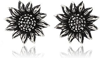 Sunflower Earring For Women 925 Sterling Silver Oxidizied Surface - Simple, Stylish Stud Earrings&Trendy Nickel Free Earring
