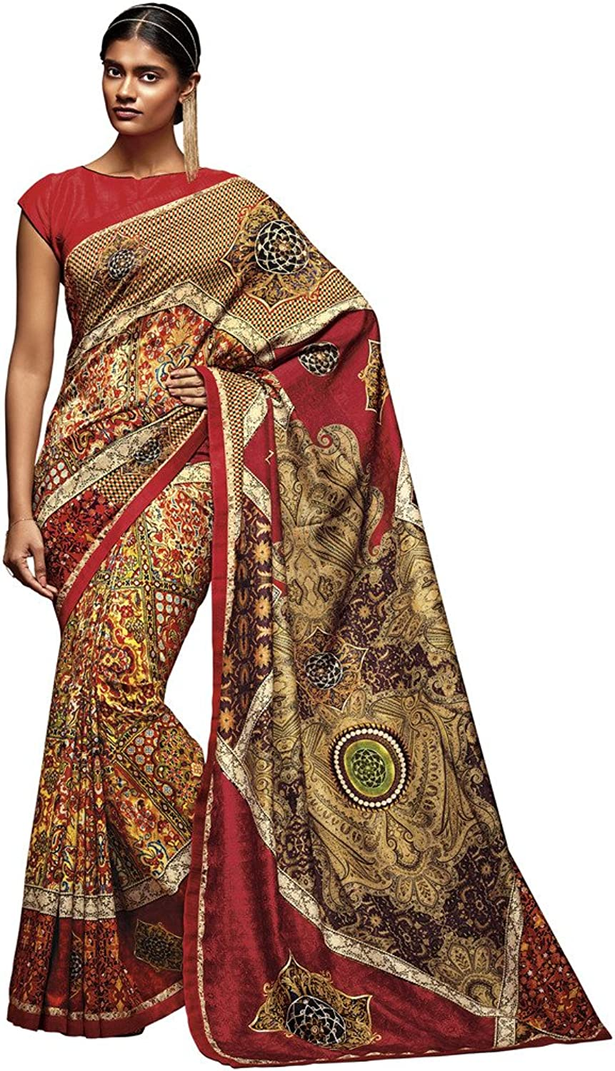 DesiButik's Gorgeous Multicolor Tusser Silk Saree