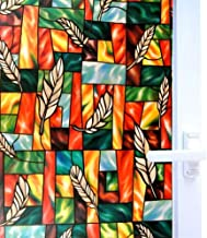 Bloss Privacy Window Film Stained Glass Window Non-Adhesive Static Cling Glass Film for Door Home Office Hotel Bathroom Living Room 17.7 Inch by 78.7 Inch