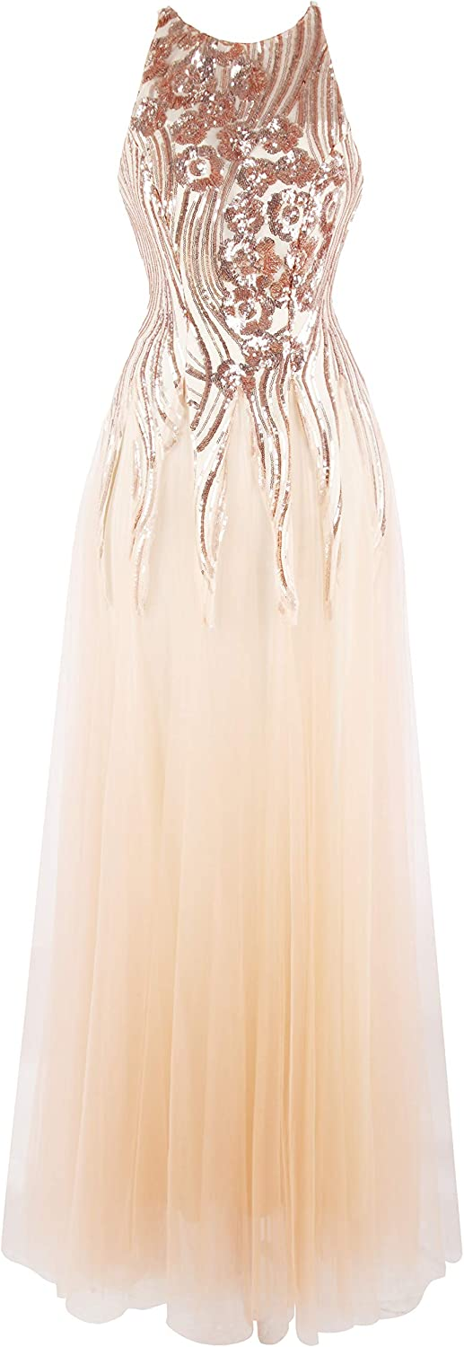 Angel-fashions Women's Halter Sequins A-line See B Dedication Through Our shop most popular Tulle
