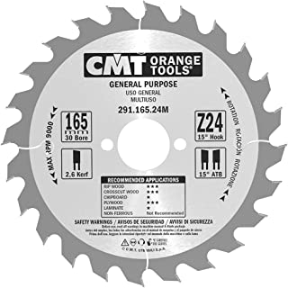 CMT Orange Tools 291.165.24 M – CIRCULAR SAW BLADE 165 X 2.6 X 30 Teeth 24 ATB 15 Degrees