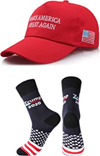 shinyis Make America Great Again Hat MAGA USA Cap with 2020 Socks