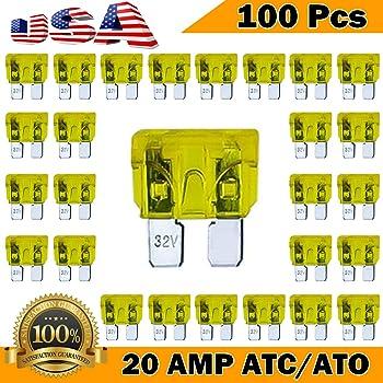 Amazon.com: 100 Pack 20 AMP ATC/ATO Standard Regular Fuse Blade 20A Car  Truck Boat Marine RV: AutomotiveAmazon.com