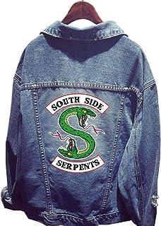 d73afffc15c25 Riverdale Serpent Veste en Jean Femme South Side Serpents Chic Pas Cher Ado  Blouson Manteaux Sweat