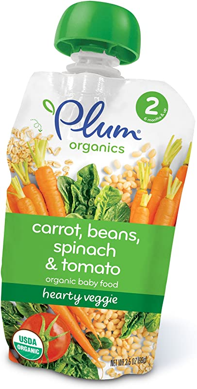 Plum Organics Baby Stage 2 Food Hearty Veggie Carrot Beans Spinach And Tomato 3 5 Ounce Pack Of 6