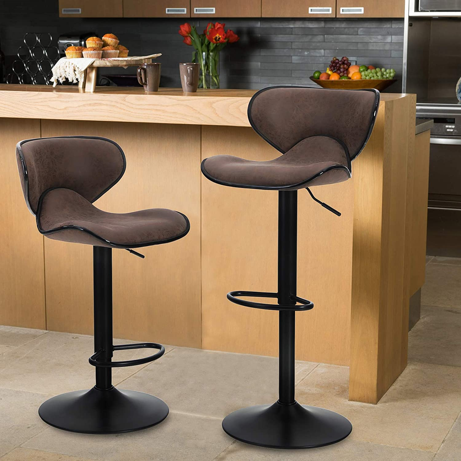 MAISON ARTS Counter Height Bar Stools Set of 9 Swivel Adjustable Barstools  with Back for Kitchen Counter Tall Bar Height Chairs Faux Leather High ...