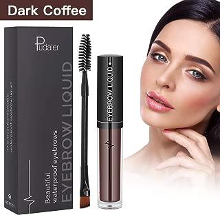 Eyebrow Gel Waterproof Brow Tinted Brow Makeup Long Lasting Eyebrow Liquid Pen with Brush, dark coffee
