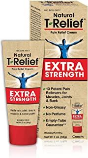 MediNatura T-Relief Extra Strength Cream - Homeopathic Plant-Powered Pain Relief with Arnica - 13 Natural Healing Ingredients For Pain, Aches, Soreness & Injuries - Paraben & Petrolatum Free - 3oz