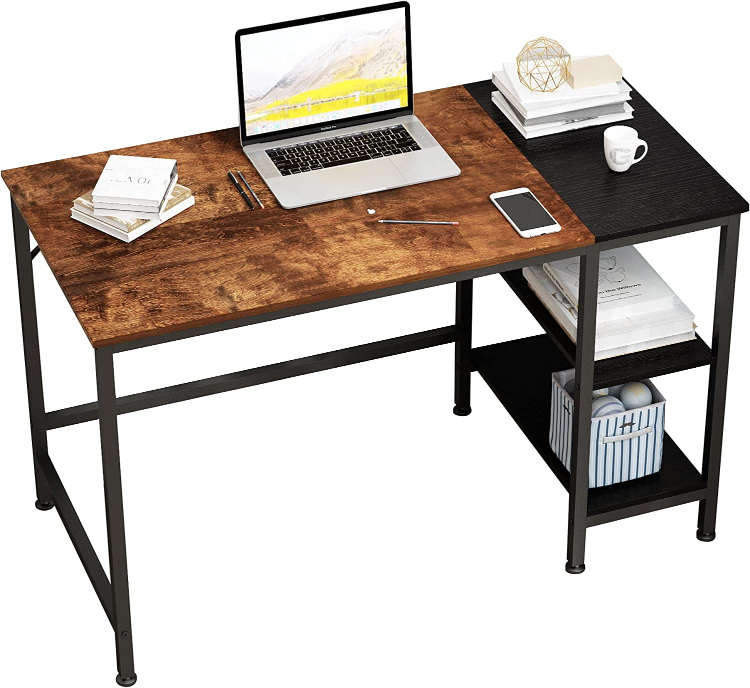 MEGAFUTURE Computer Desk Two-Layer Direct stock discount Wooden Bookshelf Study Table Max 76% OFF
