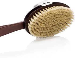 Dry Brushing Body Brush for Exfoliation - 100% Natural Boar Bristles & Long Detachable Handle - Revitalizes and Rejuvenates Health and Beauty. Storage Bag & FREE Skin Oil Sample Spa Gift