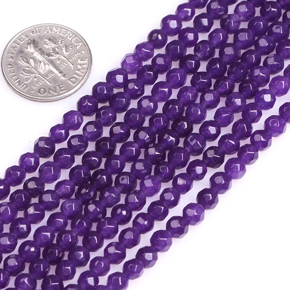 GEM-Inside Faceted Jade Gemstone Losse Beads Natural 4mm Purple Round Smooth Energy Stone Power Beads for Jewelry Making 15