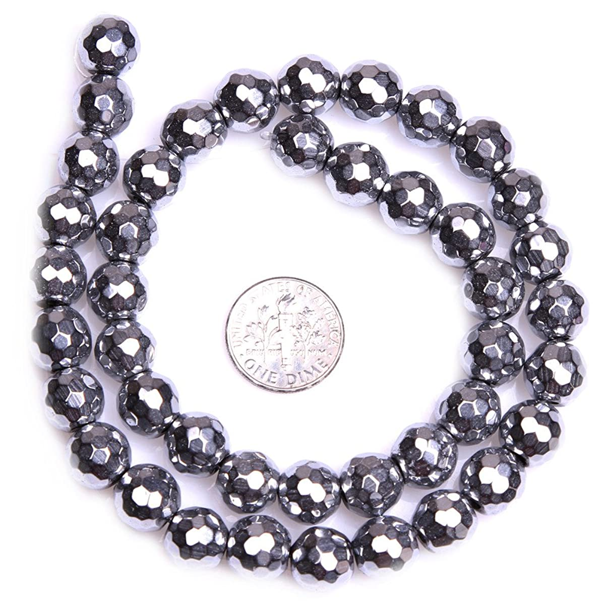 Hematite Beads for Jewelry Making Semi Precious Gemstone 10mm Round Faceted Silver Strand 15