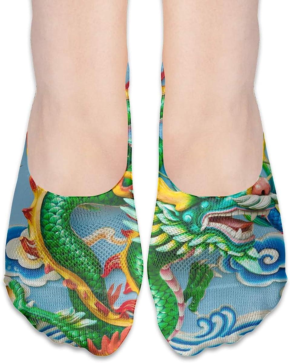 No Show Socks Women Men For Green Dragon Chinese Thailand Flats Cotton Ultra Low Cut Liner Socks Non Slip