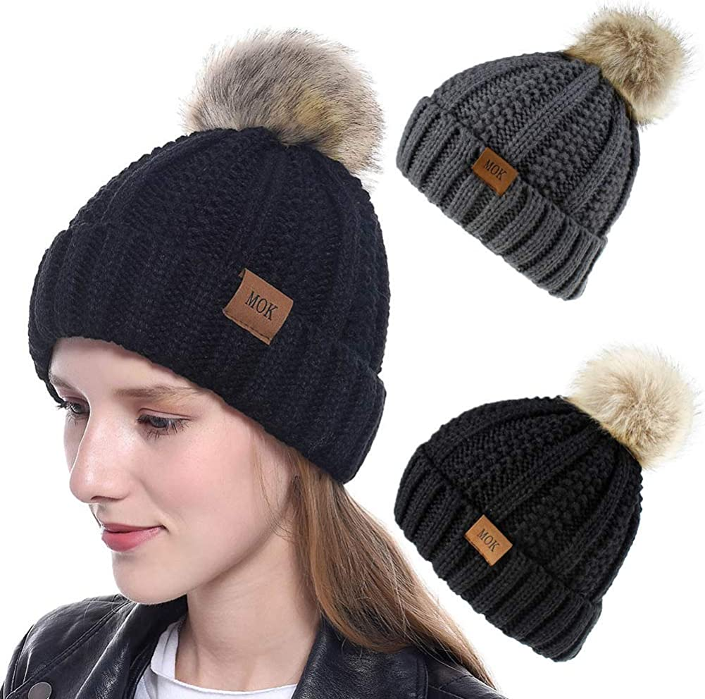 Beanies Hats Women Faux Fuzzy Fur Pom Poms Warm Cable Knit Hat f