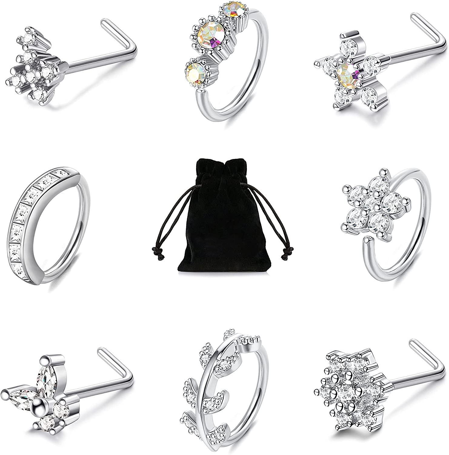 TEN MIRO 8Pcs 20G Nose Rings Hoop L Shaped Nose Rings Stud Stainless Steel CZ Cartilage Earring Flower Snowflake Butterfly Nose Piercing Jewelry For Women