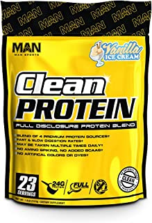 MAN Sports Clean Protein, Full Disclosure Protein Blend, Vanilla Ice Cream, 1.6 Pounds