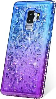 JAWSEU Fodral bling kompatibelt med Samsung Galaxy S9 Plus glitter flytande fodral, ultratunn mjuk TPU silikon gel gummi s...