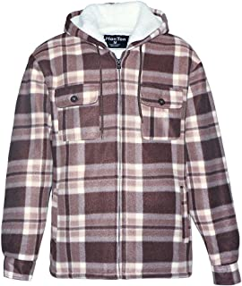 Men's Plaid Sherpa Lined Jacket, Quilted Zip Up Fleece Hoodie Big & Tall Heavyweight Soft Flannel Outwear