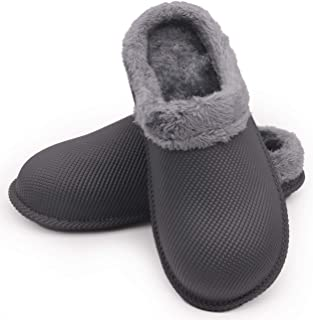 Sprboniy Winter Warm Fluffy House Slippers - Wide Waterproof Fuzzy Clogs Mules with Fur Lined for Women Men Outdoor Indoor Bedroom