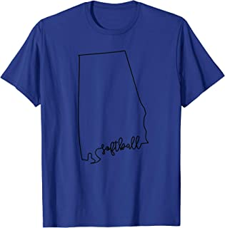 State of Alabama Outline with Softball Script ACJ151a T-Shirt