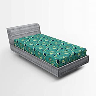 Ambesonne Turtle Fitted Sheet, Underwater Wildlife Composition with Wavy Ocean and Colorful Animals with Shells, Soft Decorative Fabric Bedding All-Round Elastic Pocket, Twin Size, Green Indigo
