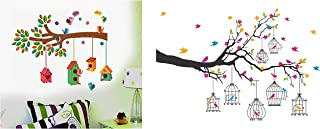 Decals Design ' Bird House on a Branch' (PVC Vinyl, 70 cm x 25 cm, Multicolour) & 'Branches with Flowers and Birds Cages'...