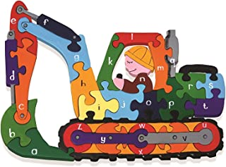 Alphabet Jigsaws Handcrafted Wooden Puzzle: Alphabet Digger
