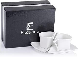 Espresso Coffee Cups with saucers. Elegant White Porcelain Demitasse European Style Design. Set of 2 (2.7oz/80ml) Cups Mugs. Perfect for Double Shot Espresso, Macchiato, Piccolo Latte Lungo By ESQUANO