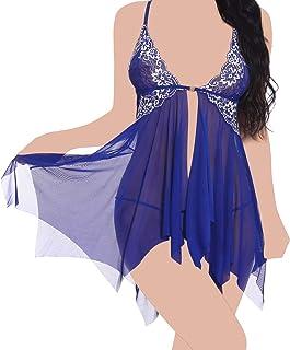 Lingerie Ropa Women Lace Lingerie Babydoll Nightdress Mesh Chemise Sleepwear Ladies Sling Slip Lace V Neck Sleepwear for L...