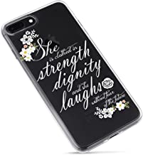 iPhone 7 Plus Case,iPhone 8 Plus Case,Flowers Floral Roses Bible Verses Quotes She Is Clothed with Strength & Dignity Proverbs 31:25 Cute Inspirational Motivational Soft Case for iPhone 7plus/8plus