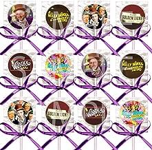 Chocolate River Factory Party Favors Decorations Charlie Movie Bar Golden Ticket Lollipops w/Purple Bows -12 pcs