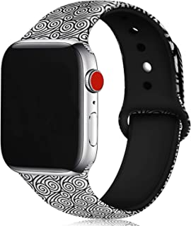 U-horn Floral Bands Compatible with Apple Watch Series 4/3/2/1,Silicone Sports Straps Printed Pattern Wristband for iWatch 38mm/42mm/40mm/44mm S/M M/L for Women/Men