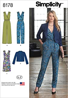 Simplicity 8178 Women's Jumpsuit, Dress, and Jacket Sewing Patterns for Women by In K, Sizes H5 (6-14).