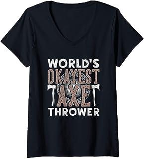 Womens Funny Axe Throwing Shirt   Hatchet & Ax Thrower Gift V-Neck T-Shirt