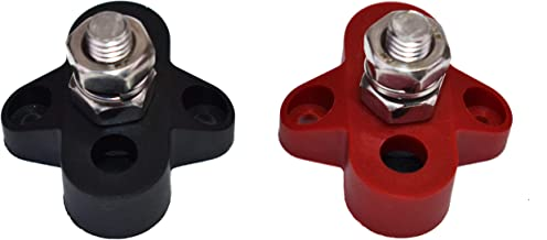 """A-Team Performance Heavy-Duty Stainless Steel Single Stud Power Distribution and Ground Junction Block Battery Terminals, One Pair Red and Black, 5/16"""""""