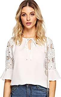 Women's Tie Keyhole Lace Half Sleeve Chiffon Blouse Top
