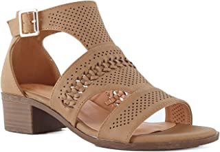 LUSTHAVE Women's Open Toe Buckle Wooden Low Chunky Heel Sandals Cut Out Shoes